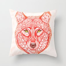 Red wolf Throw Pillow