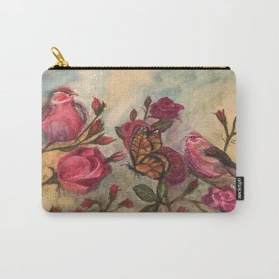 Birds and Roses - watercolor Carry-All Pouch