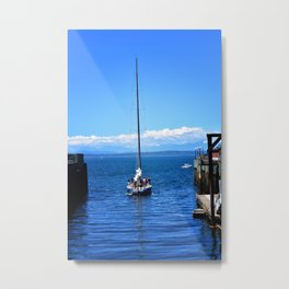 A Sailboat Coming in to Dock along the Seattle Waterfront Metal Print