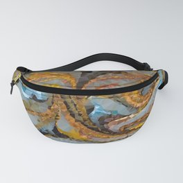 Gold Copper Blue Mica Swirl Low Poly Geometric Triangles Fanny Pack