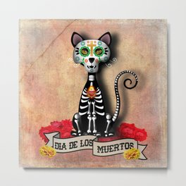 Dia De Los Muertos El Gato - Day of the Dead the Cat Metal Print