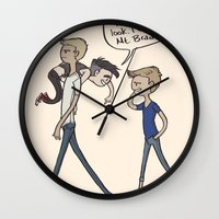 brad pitt Wall Clocks featuring scaling mt brad by alexa bosy