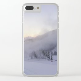 Natural and snow cannon mist in the morning Clear iPhone Case