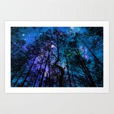 Black Trees Teal Purple Space Art Print