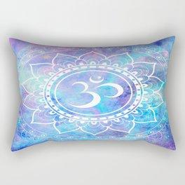 Om Mandala Pink Aqua Lavender Galaxy Space Rectangular Pillow