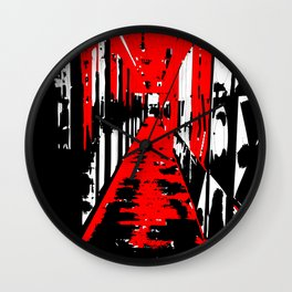 Hallway in red Wall Clock