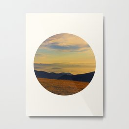 Mid Century Modern Round Circle Photo Graphic Design Beautiful Sunset Over A Field Mountain Range Metal Print