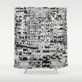 Confused Images Behind the Interface (P/D3 Glitch Collage Studies) Shower Curtain