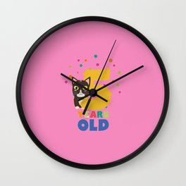 Five Years fifth Birthday Party Cat T-Shirt D3mib Wall Clock