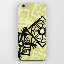 African Pattern, Tribal Motif - Green Black iPhone Skin