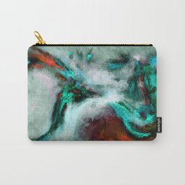 Surrealist and Abstract Painting in Turquoise and Orange Color Carry-All Pouch