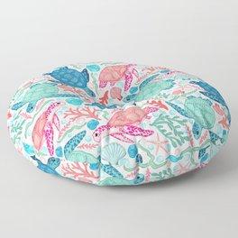 Paradise Beach Turtles Floor Pillow