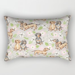 Dachshunds and dogwood blossoms Rectangular Pillow