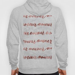 Amour Rose Gold Marble Love Quote Typography Hoody