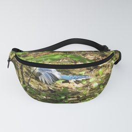 BLUEJAY SUNBATHING, SURROUNDED BY GREENERY Fanny Pack