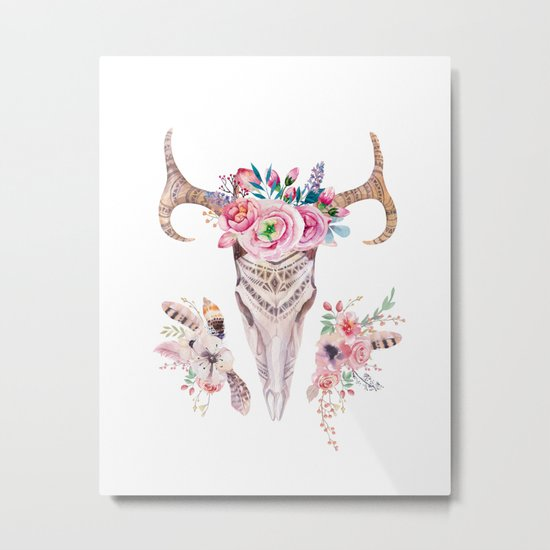 Deer skull with feathers and flowers Metal Print