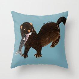 Clever Mink ( Neovison vison) Throw Pillow