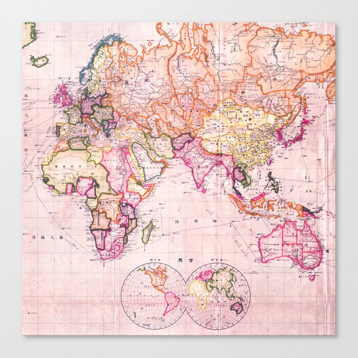 Vintage Map Pattern Canvas Print
