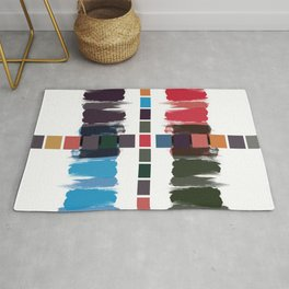 Bold brushstrokes with mosaic stripes Rug