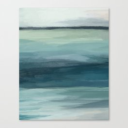 Seafoam Green Mint Navy Blue Abstract Ocean Art Painting Canvas Print