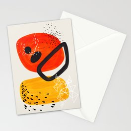 Fun Mid Century Modern Abstract Minimalist Vintage Orange Yellow Orbit Bubbles Stationery Cards