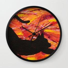 Cat Stretch Wall Clock