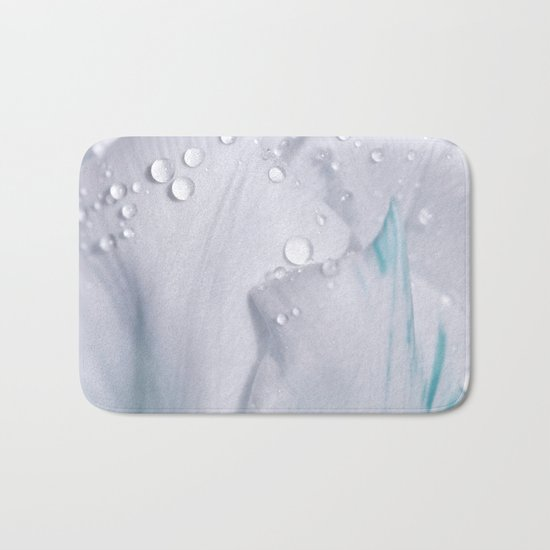 White tulip with water drops 27 Bath Mat