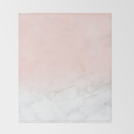 Blush Pink on Gray and White Marble II Throw Blanket