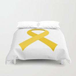 Yellow Awareness Support Ribbon Duvet Cover