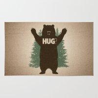 hug Area & Throw Rugs featuring Bear Hug by powerpig