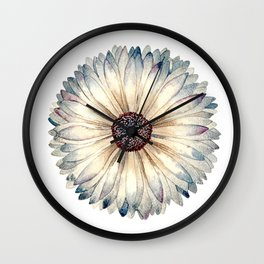 Textured Watercolor Daisy  Wall Clock