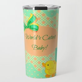 Peach, Green & Yellow Baby Blocks & Rubber Duck Travel Mug