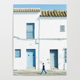 White and blue town Poster