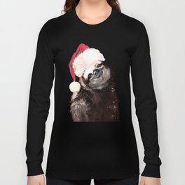 Christmas Sloth in Green Long Sleeve T-shirt