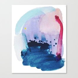 PYT: a minimal abstract mixed media piece on canvas in blues, pink, purple, and white Canvas Print