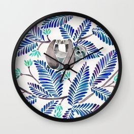 Happy Sloth – Tropical Blue Leaves Wall Clock