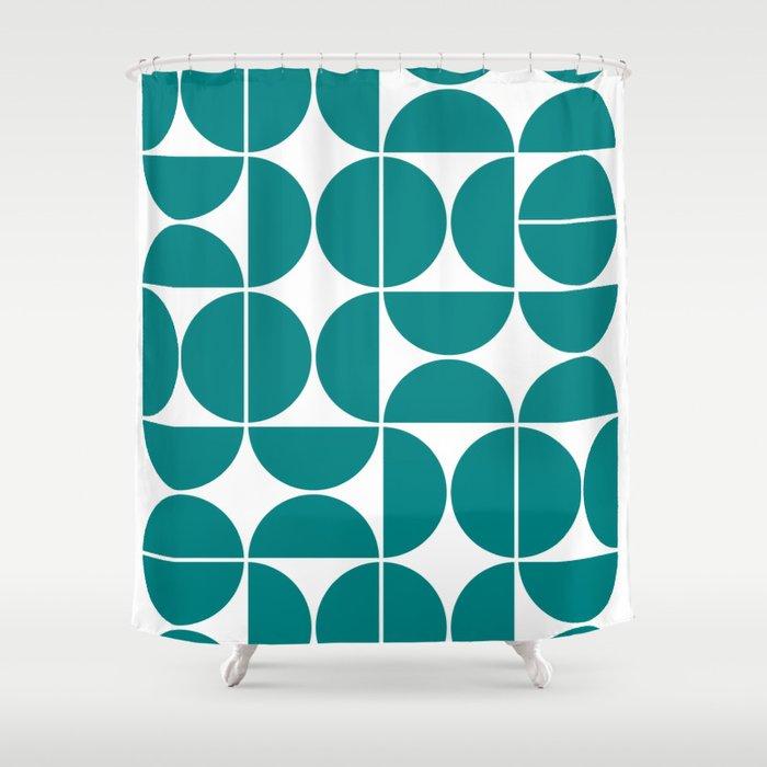 Mid Century Modern Geometric 04 Teal Shower Curtain