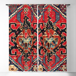 Qashqa'i Antique Fars Persian Bag Face Print Blackout Curtain
