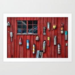 Red Wall Buoy Art Print