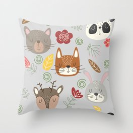 Woodland animals kids pattern grey background Throw Pillow