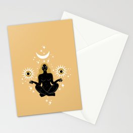 sun, moon, stars meditation Stationery Cards