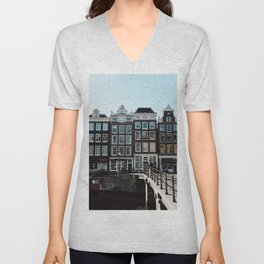 Amsterdam architecture | Travel photography | Buildings and the canals | The Netherlands | Art Print Unisex V-Neck