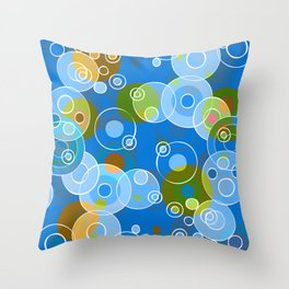 Blue Bubbles Throw Pillow