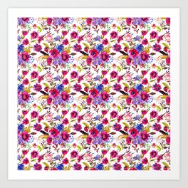 Pink lilac blue watercolor botanical floral pattern Art Print