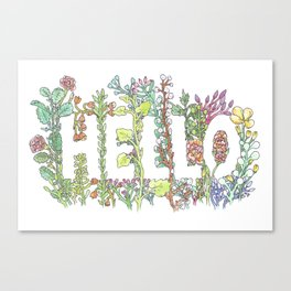 Hello in Flowers Canvas Print