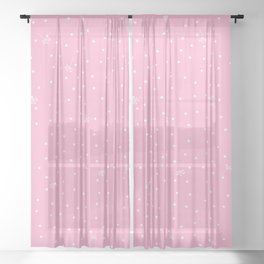 flying dandelion seeds simple Christmas seamless pattern and Snow White Confetti on Hot Pink Background Sheer Curtain
