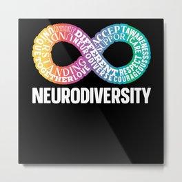 Neurodiversity Neurodivergent Rainbow Infinity Metal Print
