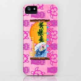 Pink Tiki And Hawaiian Surfing iPhone Case