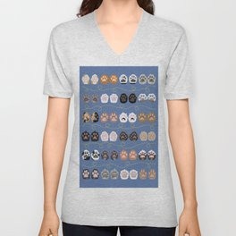 Toe Beans on Blue / Cat Paws Unisex V-Neck