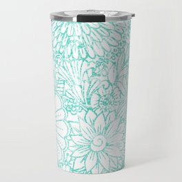 Artistic teal white hand painted floral pattern Travel Mug